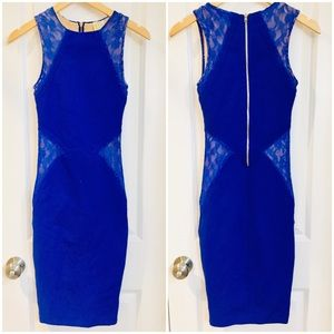 Torn Ronny Kobo Blue Lace Bodycon Midi Party Dress